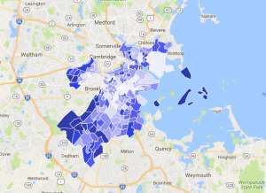 Crime map comparing Boston neighborhoods
